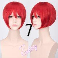 コスプレウィッグ ショートストレートウィッグ33cm   レッド 赤髪