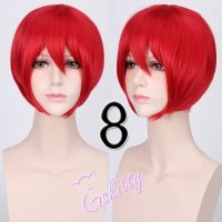 コスプレウィッグ ショートストレートウィッグ33cm   真紅レッド 赤髪