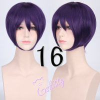 コスプレウィッグ ショートストレートウィッグ33cm  ダークパープル 濃紫